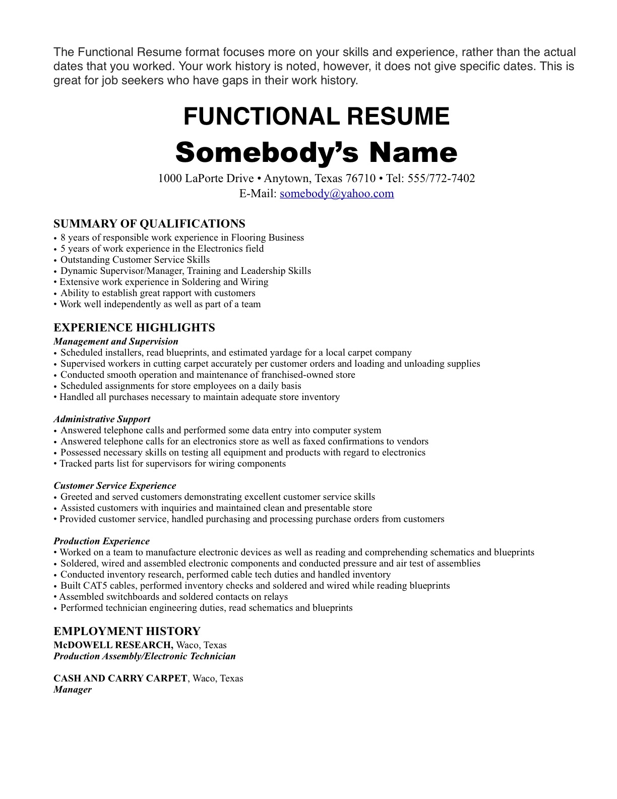 no work history resume