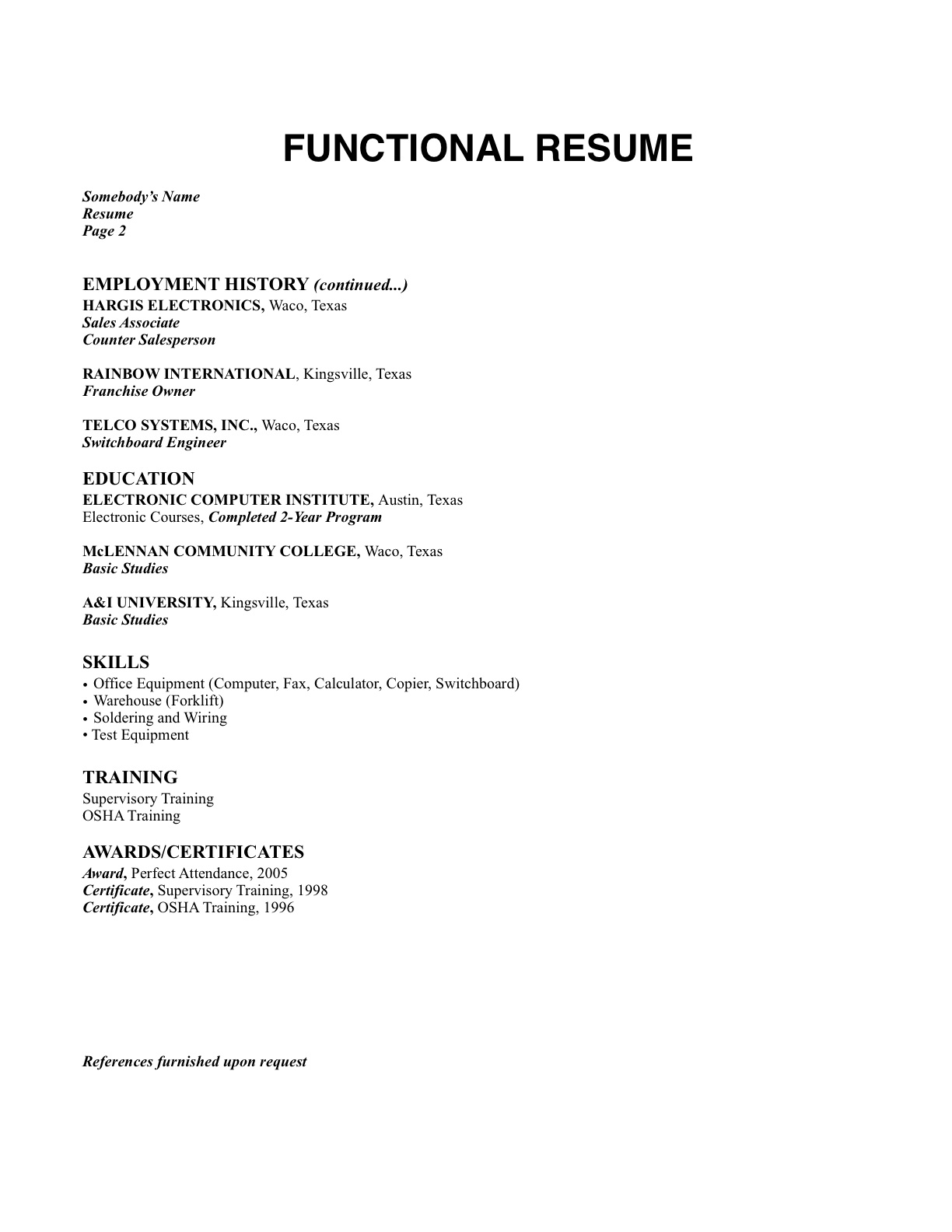 what is the format of resumes