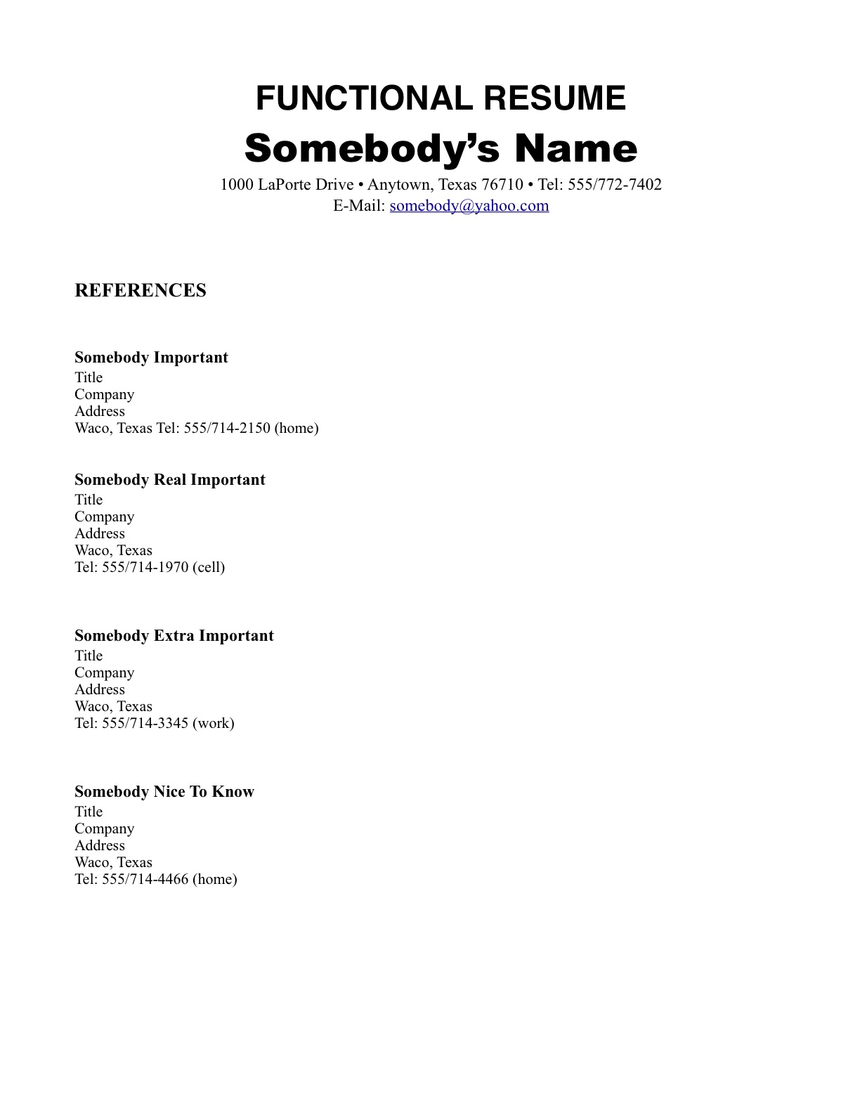 Example of a Job Resume No Work Experience