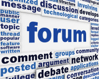 Forum poster conceptual design. Online public discussion message background